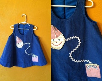 Vintage light weight corduroy swing dress with ric rac and jack in the box applique. vintage dress Size 5/6T
