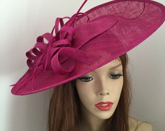 Fascinator Hat fushia pink, Big Saucer Hatinator on hairband, perfect for the races or a wedding