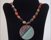 Maine State House Copper Roof Necklace with Jasper Beads - Limited Edition AC