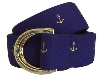 Cloth Belt/ Fabric Belt/Woman's D-Ring Belt/ Colorful Belt/ Canvas Belt/ Preppy Belt/ Navy and Golden Anchor Fabric D-Ring Belt