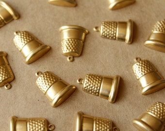 15 pc. Raw Brass Thimble Charms, 14mm by 18mm - made in USA | RB-717