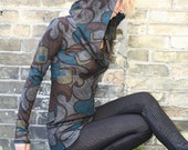 ABSTRACT print COWL neck HOODIE custom size