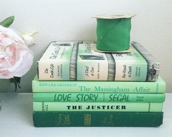 Vintage green ombré book stack