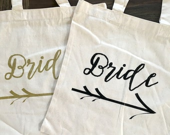 Bride - tote/bag BLACK INK - Wedding/Wedding Party/Bach Party cotton canvas/screen print/tote bag Ready to Ship