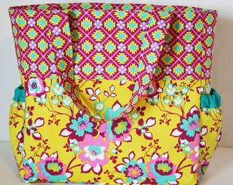 Handmade Diaper Bag -- Diaper Bag -- Baby Bag -- Knappy Sack -- Diaper -- Bag -- Tote
