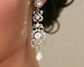 Vintage Inspired Gold  Bridal Earrings, Wedding Jewelry, Swarovski Earrings, Chandelier Earrings, Art Nouveau - Leonie