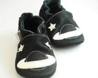 soft sole baby shoes leather infant gift space white black 0 6 ebooba SC-2-B-T-1