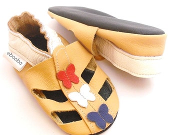 soft sole baby shoes handmade infant gift sandals yellow  12-18m ebooba SN-80-Y-M-3