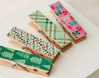 Retro Christmas Clothespins Wide Kitchen Chip Clips
