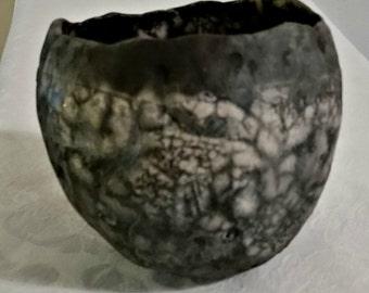 Medium Naked Raku Pot Handmake Pottery