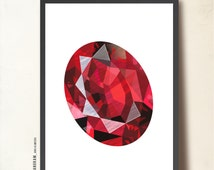 Mother's day gift, Rubi gemstone, Geometric Poster Art Print. Art Precious Stone, red. Rubi birthstone July poster, TANGRAMartworks