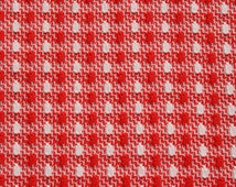 Vintage Red White Double Knit Fabric, Geometric Stretchy 70s 1970s Mod Retro Polyester Fabric, Almost 4 yards