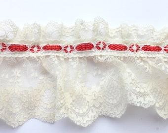 """Vintage Wide Ruffled Gathered Red Ribbon Lace Trim, NOS 3 yards x 4 1/2""""W"""
