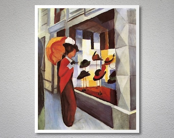 The Hat Shop by Auguste Macke - Poster Paper, Sticker or Canvas Print