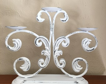 Shabby Chic Distressed Candelabra, 3 Tier, Pillar Candleholder
