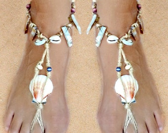 Barefoot Beach Sandals, seashell anklet hippie shoes, Mermaid sandles, Beach wedding shoes, BAREFOOT SANDALS WEDDING, mother of pearl Bridal