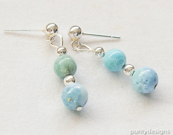 Larimar Earrings, Dangle and Drop Earrings, Rare Larimar Beads, Natural Gemstone, Aqua, Blue, Dominican Republic, Sterling Silver Ear Post
