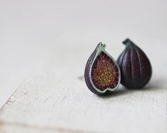 Figs Stud Earrings - Small Ear Studs - Earrings Post - Food Jewelry - Vegan Earrings