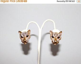 25% OFF JEWELRY 1960s Rhinestone Leopard Gold Clip Earrings