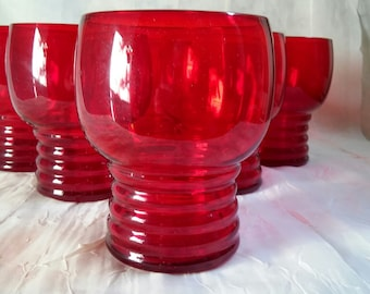 Vintage Ruby Red Glasses 1950s Set of SIX (6)