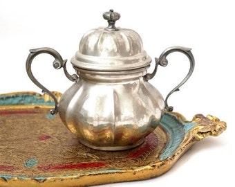 SALE Vintage Italian Sugar Bowl ,Pewter Sugar Bowl ,pewter retrò tableware.