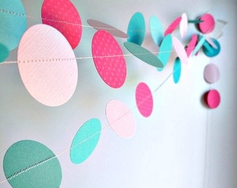 Pink, fuchsia, teal,mint circle garland, pastel Baby Girl Shower decor, nursery decor, birthday party garland