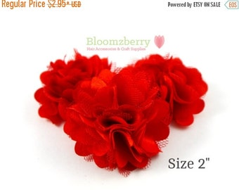 """July Sale 12% OFF 2"""" Silky Satin Mesh Flower -  Red Color - Red Satin Mesh Flower - Red Satin Flowers -  Red Flower - DIY Hair Accessories S"""