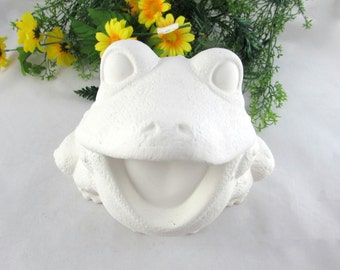 Ceramic Ready to Paint Happy Garden Frog - Bisque Frog