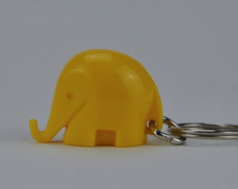 Vintage Colani Style Elephant Keychain. Space Age. Yellow. 1960s. German. Germany. 1028.