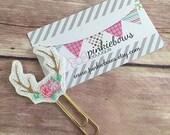 Pink/Gold/Flower Antlers/Sparkle Applique Paper Clip/Planner Clip/Journal Marker/Bookmark
