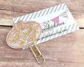 Pink/Gold/Magical Day/Leather Applique Paper Clip/Journal Marker/Planner Clip/Bookmark