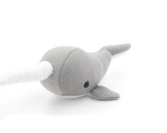 Sparkling Grey Narwhal Stuffed Animal, Narwhal Plushie, Plush Toy, Softie