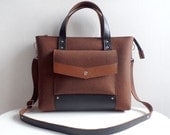 Brown Black Wool Felt Genuine Leather Handbag Bag