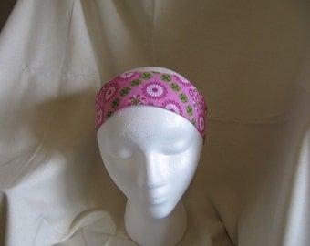 Pink & Green Floral Reversible Headband