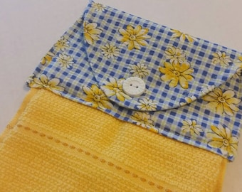 Gingham and Daisy Hanging Kitchen Towel, Dish Towel, Yellow and Blue Kitchen Towel, Button Top Towel, Kitchen Linens, Spring, Gifts under 20