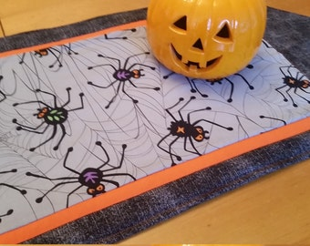 Halloween Spider Table Runner, Spiderwebs, Orange, Black, Grey, Halloween Home Decor, Table Linens, Spooky, Arachnid Lovers, Creepy Crawlers