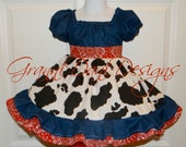 Cowgirl cow print double ruffle bandana peasant twirl dress short sleeve  infant toddler red white black 12 18 24 months 2t 3t 4t 5t jean