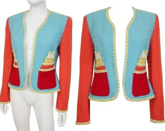 MOSCHINO 1990s Vintage Statement Cake Jacket Blazer Multi-Colored Virgin Wool US Size 8 Small