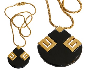 GIVENCHY 1978 Vintage Statement Necklace Signature Resin Pendant Gold Black 1970s Designer Fashion Jewelry