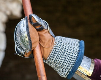 """DISCOUNTED PRICE! Medieval Men's Gauntlets """"King of the East""""; Men's gloves for sca"""