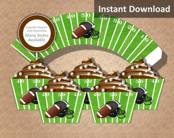 Football Cupcake Wrappers Instant Download, Football, Helmet, Football Field, Brown, Green, Black, White, Party Decorations