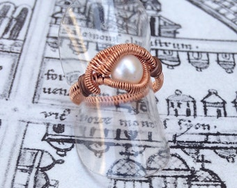 Wire wrapped pearl ring, hand made copper eye ring, steampunk ring