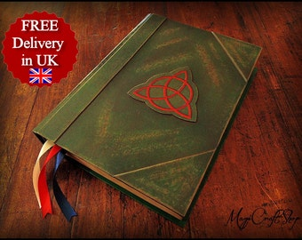Book of Shadows - Pocket Charmed replica with ORIGINAL parchment pages - SMALL size 6,3x4,7 inch - wicca magic ritual spells