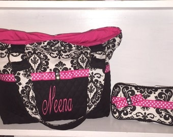 Personalized Diaper Bag/ Tote Bag In Black and White Damask Print With Hot Pink.  Add On Matching Accessories