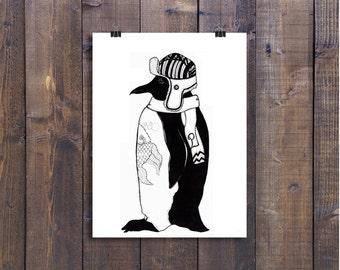Penguin Art, Penguin Drawing, Penguin Illustration, Pen and Ink Drawing, Black and White Art, Ink Drawing, Bird Art, Fun Art, Ink Art