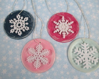 Set of 4 - Mason jar lid Christmas tree ornaments