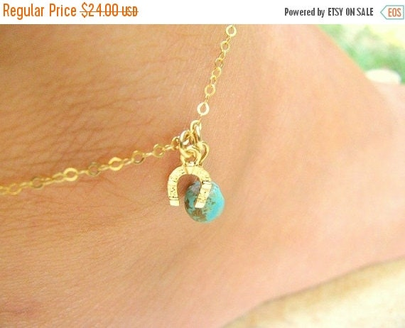 Sale - Turquoise anklet - Anklet, Horseshoe anklet, Ankle bracelet, Gold anklet, Turquoise anklet, gold anklet, thin delicate anklet, foot j