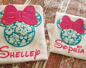 Girl Mouse Custom embroidered Disney Inspired Vacation Shirts for the Family! 726