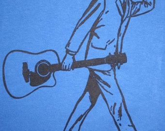 "Hand carved hand printed "" Folkie"" t-shirt"