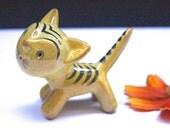 Walter Bosse  Rare yellow cat Karlsruhe Majolika   60's Mid Century West German Pottery